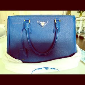 Prada Saffiano Lux Leather Double Handle Bag